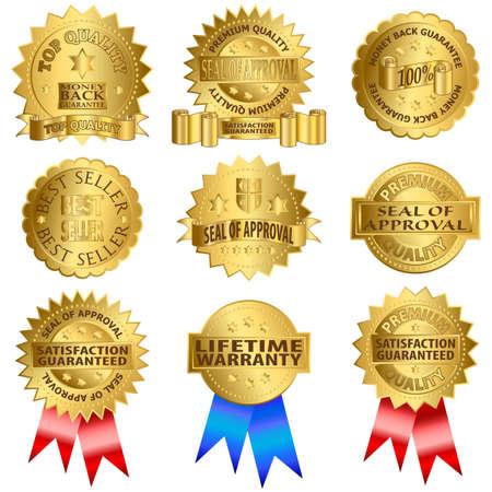 guarantee seal: Sellos de oro. Sello de aprobaci�n, garant�a de por vida, producto de alta calidad.