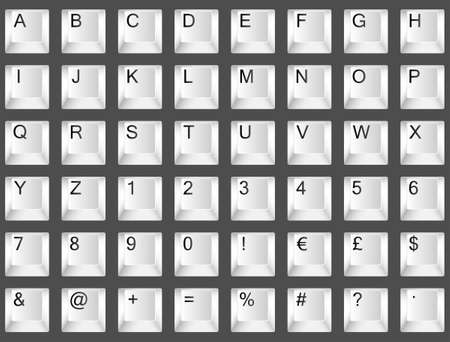 White keyboard font. Letters A to Z, numbers 0 to 9 and symbols Stock Vector - 11838522