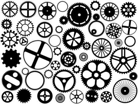 Diverse stijl en grootte versnellingen, tandwielen en wielen silhouetten Vector Illustratie
