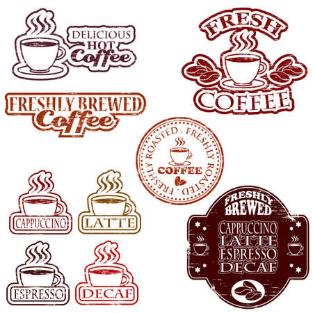 Coffee rubber stamps Illustration