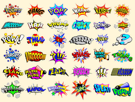 Cartoon text explosions Illustration