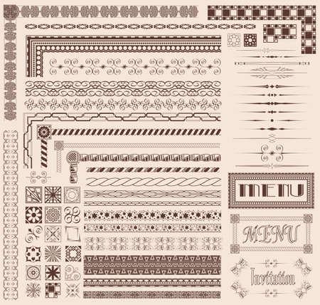vintage borders: Decorative menu and invitation border elements
