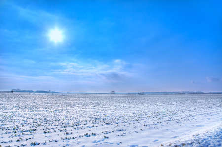 covered fields: Snow covered fields on a sunny day