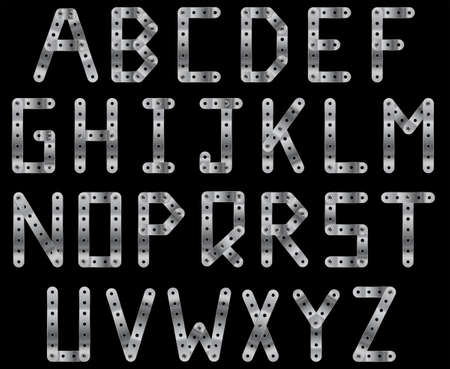 metal fastener: Bolted metal strip alphabet. A to Z