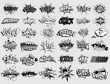 bijschrift: Zwart-wit cartoon bijschriften. explosies en geluiden Stock Illustratie