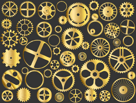 engineered: Shiny gold gears, pinions and wheels illustration