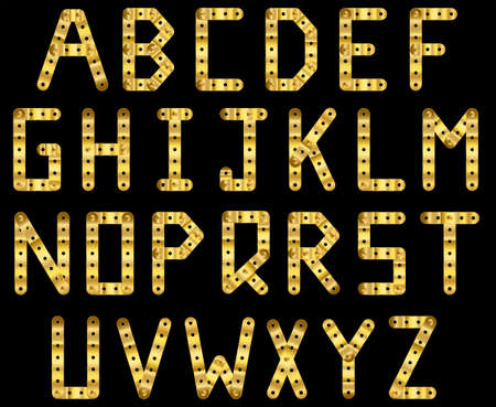 bolted: Bolted golden strip alphabet. A to Z