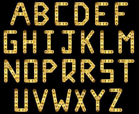 metal fastener: Bolted golden strip alphabet. A to Z