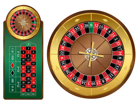 European style roulette wheel and table illustration Vector