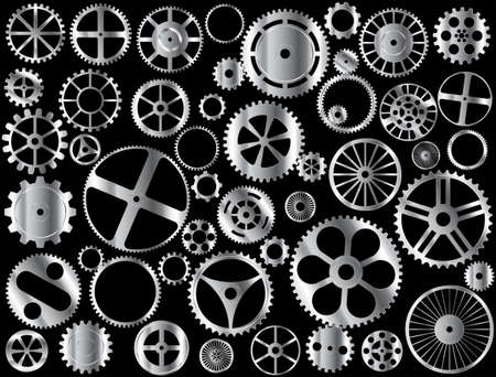 engineered: Chrome gears and wheels on black background Illustration