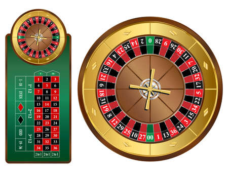 roulette table: American style roulette wheel and table illustration