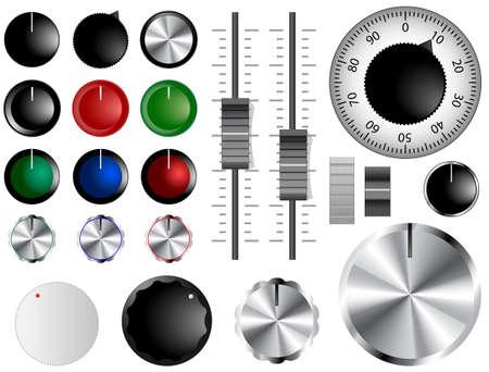 wijzerplaat: Plastic en chromen knoppen, wijzerplaten en schuifregelaars Stock Illustratie