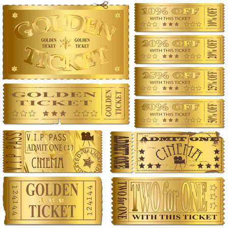 Gold cinema and sale ticket vectors