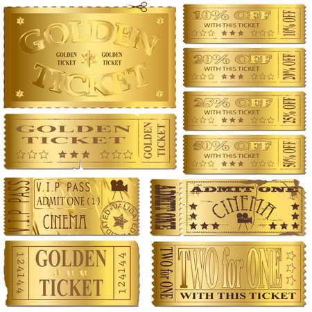 dorato: Oro cinema e vettori di vendita dei biglietti Vettoriali