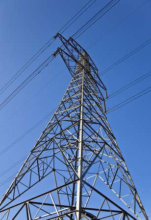 airwaves: Pylon tower structure viewed from below against blue sky