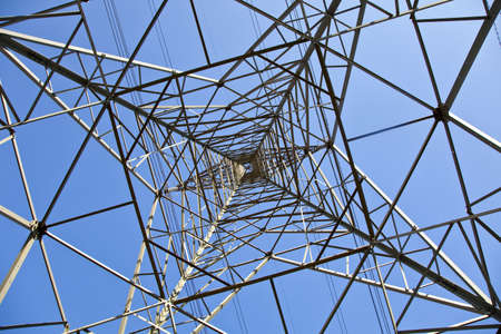 airwaves: Pylon tower structure viewed from directly below against blue sky