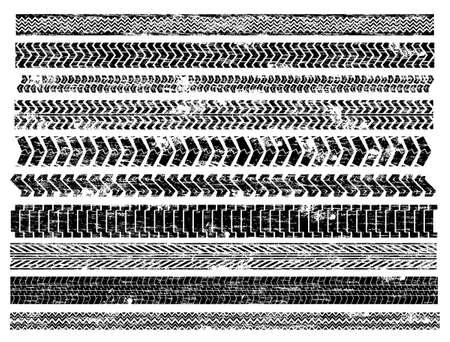 huellas de neumaticos: Sucio cami�n y las ilustraciones de neum�ticos para coches de pista Vectores