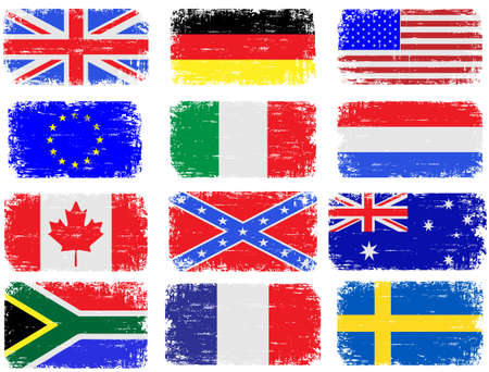 Grungy flag illustrations of the USA, Great Britain, South Africa, Australia and various European countries Vector