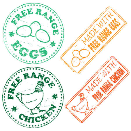 Free range chicken and eggs rubber stamp illustrations Stock Vector - 14013794
