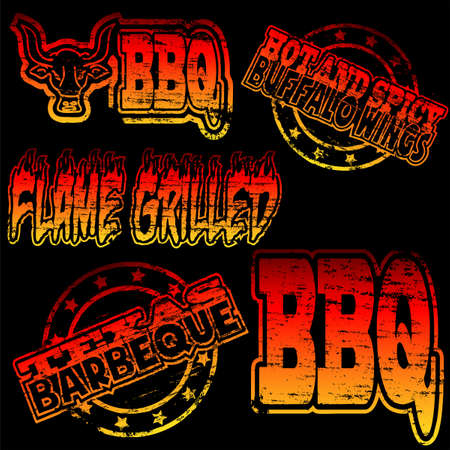 Flame grilled and BBQ rubber stamp illustrations
