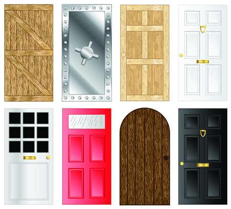 Metalen en houten deuren en poorten illustraties