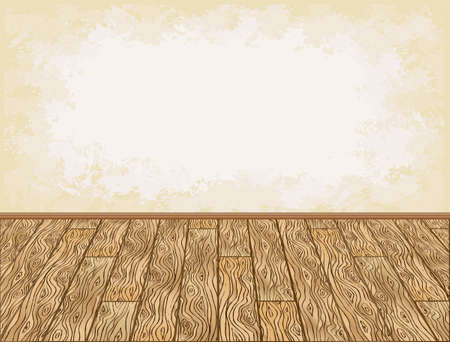floorboard: Wooden floor and grungy wall background illustration Illustration