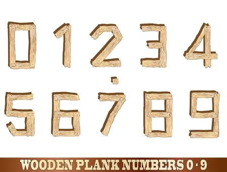 sawn: Wooden plank number illustrations  0 to 9