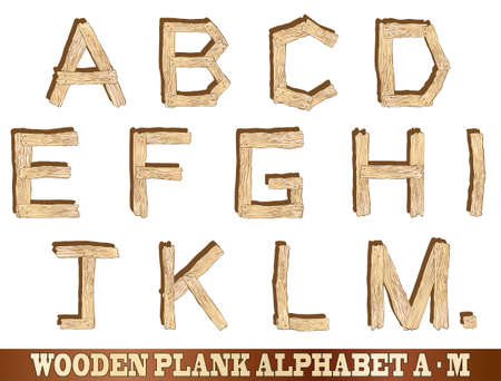 sawn: Wooden plank alphabet illustrations  Letters A to M Illustration