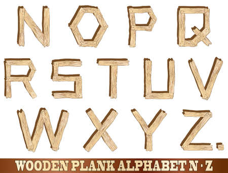 sawn: Wooden plank alphabet illustrations  Letters N to Z