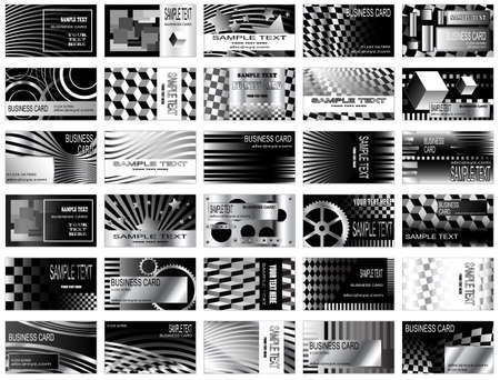 High tech black and white, and metallic business card designs