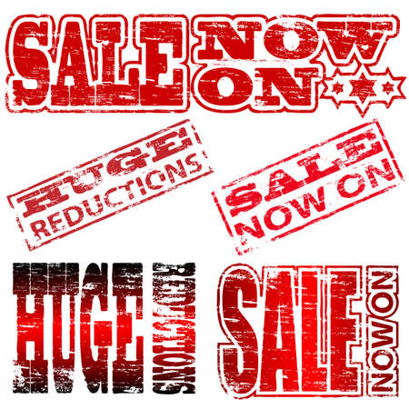 Huge Reduction and Sale Now On rubber stamp illustrations Vector