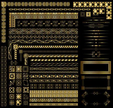 La invitación de oro decorativo y los elementos del menú de frontera Foto de archivo - 14662094