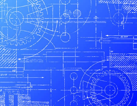 Grungy technical blueprint illustration on blue background Ilustração