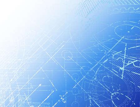 Grungy technical blueprint illustration on blue background Illustration