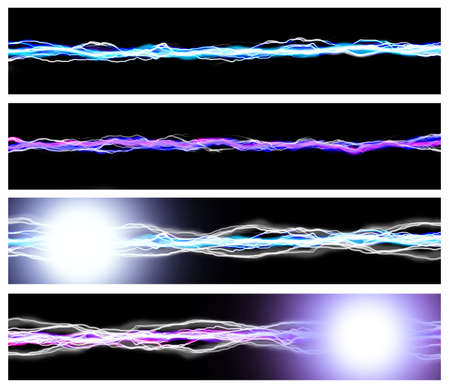 Set of energy backgrounds Bright pink and blue sparks on black  photo