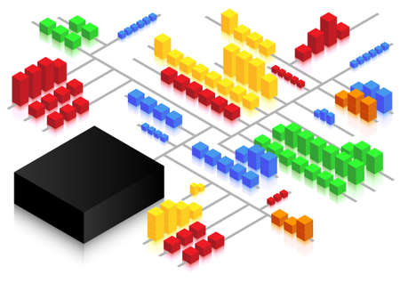 hub: Illustration of storage and distribution network concept using cubes