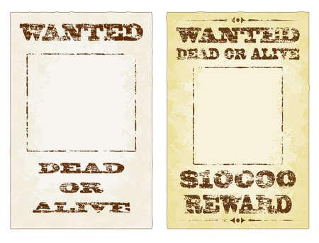 bounty: Wanted Dead or Alive carteles deste�idos grungy Vectores