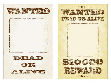 Wanted dead or alive grungy faded posters Vector
