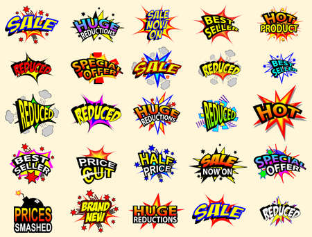 Colorful cartoon text captions. Sale and special offer.