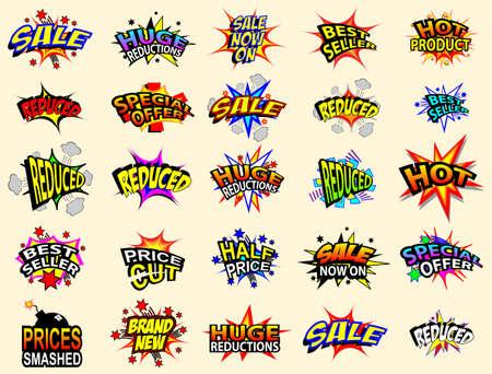 reduced value: Coloridas leyendas de dibujos animados de texto. Venta y oferta especial.