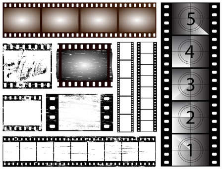 35mm film motion picture camera: 35mm and 135 still camera and cinema film strips Illustration