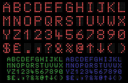 led display: LED Display font numbers and letters in red, green and blue Illustration