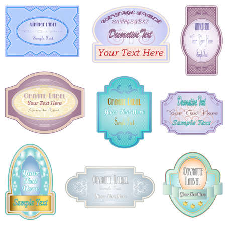 Vintage ornate label illustrations. Various retro designs Vector