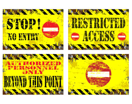 access restricted: Grungy metal sign illustrations. Stop, no entry, restricted access. Illustration