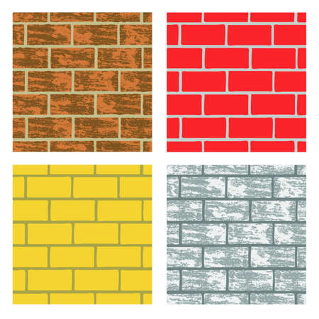Seamless brick wall repeating backgrounds in different colors Stock Vector - 15519813