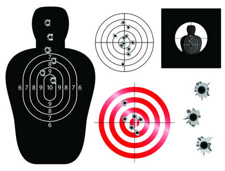 doelstelling: Target en zicht illustraties met kogelgaten Stock Illustratie