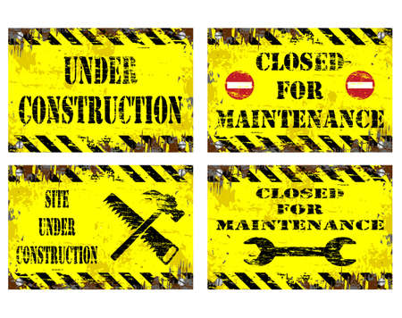 dangerous construction: Grungy metal sign illustrations. Under construction, and Closed for maintenance Illustration