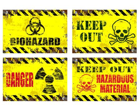 riesgo biologico: Grungy ilustraciones Carteles de chapa. Peligro y riesgo