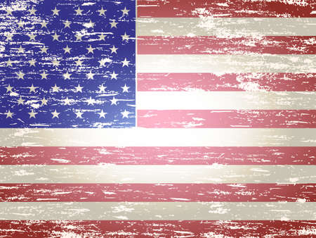 us grunge flag: Grungy faded and distressed American flag background