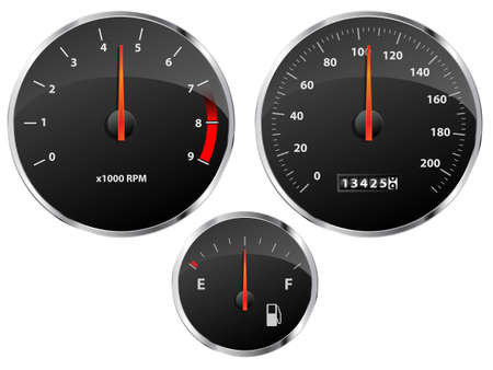 mileage: Speedometer, tachometer and fuel gauge set with chrome bezel Illustration